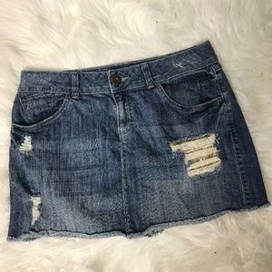 Elle Distressed Sequin Jean Mini Skirt